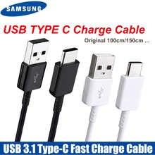 Оригинальный кабель Samsung типа C 0,28/1,2/1,5 м, кабель для быстрой зарядки и передачи данных для samsung Galaxy S8 S9 Plus S10 Note 8 9 10 A3/A5/A7 2017