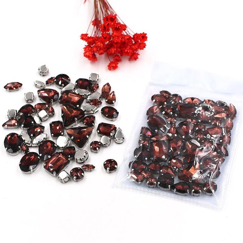 Продажа в убыток! Смешанная форма, бокалы винно-красного цвета, пришивные стразы с серебряной базой, аксессуары для одежды «сделай сам» SWM08