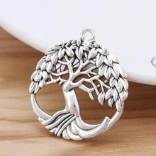 10 pièces tibétain argent rond arbre breloques pendentifs pour collier bijoux faisant des résultats 32x29mm