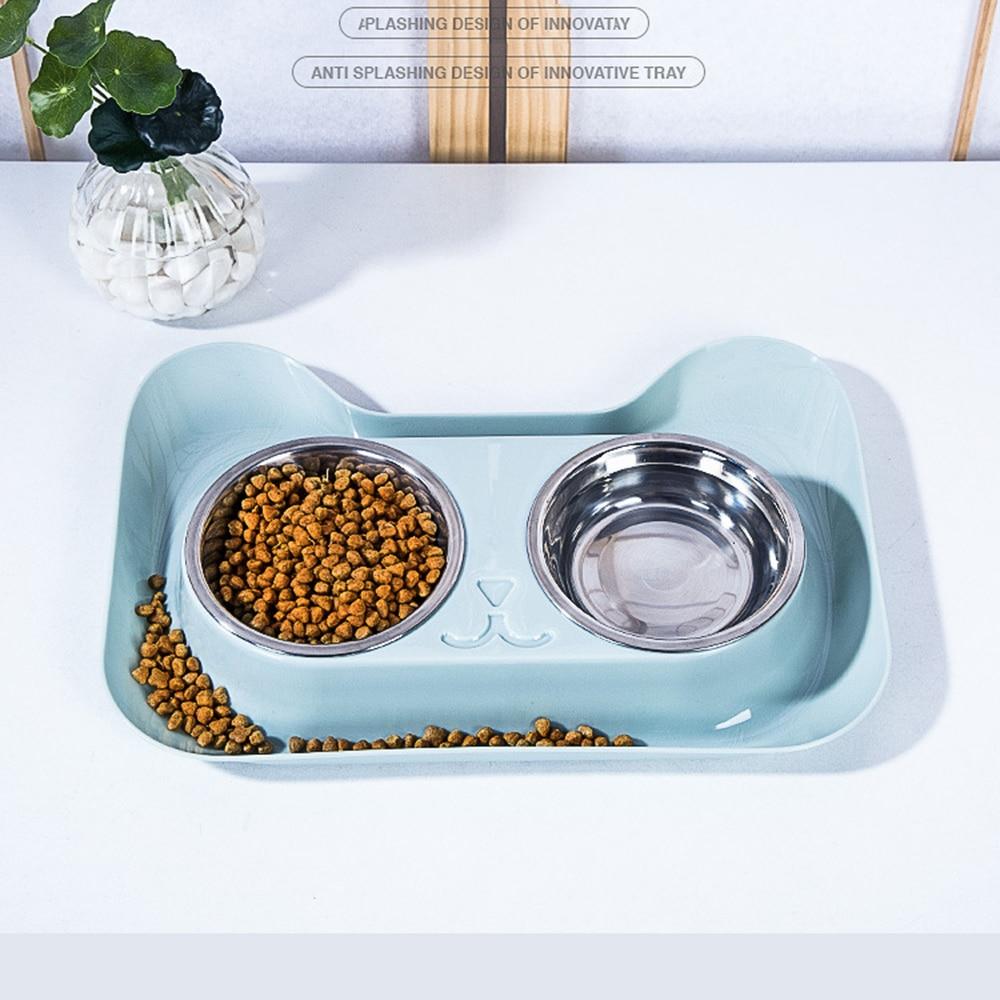 Año Nuevo Navidad doble cuenco para perros Estación de Alimentación de Mascotas de acero inoxidable cuencos de alimentos de agua Solución para perros gatos suministros