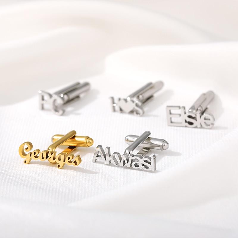 sagittarius brass steel stoving varnish cufflinks for men black silvery pair Custom Name Cufflinks for Men Stainless Steel Name Letter Cufflink Jewelry Shirt Wedding Fashion Charm Cuff Link Gift