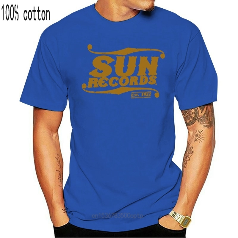 New Sun Records Elvis Cash Roy Sun Studio Music Distressed Print Grey T-Shirt