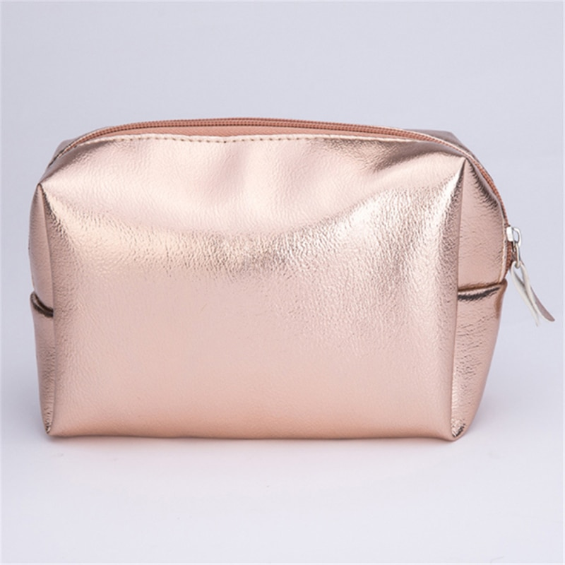 Women Cosmetic Bag Pink Gold Makeup Bag Zipper Make Up Handbag Organizer Storage Case Pouches Toiletry Wash Beauty Box