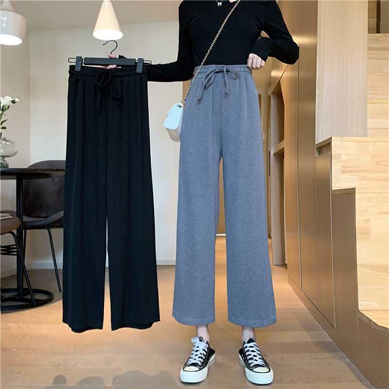 High Waist Straight-Leg Pants Small Show Thin Black Women's Spring and Summer Thin Loose Wide Leg Pa