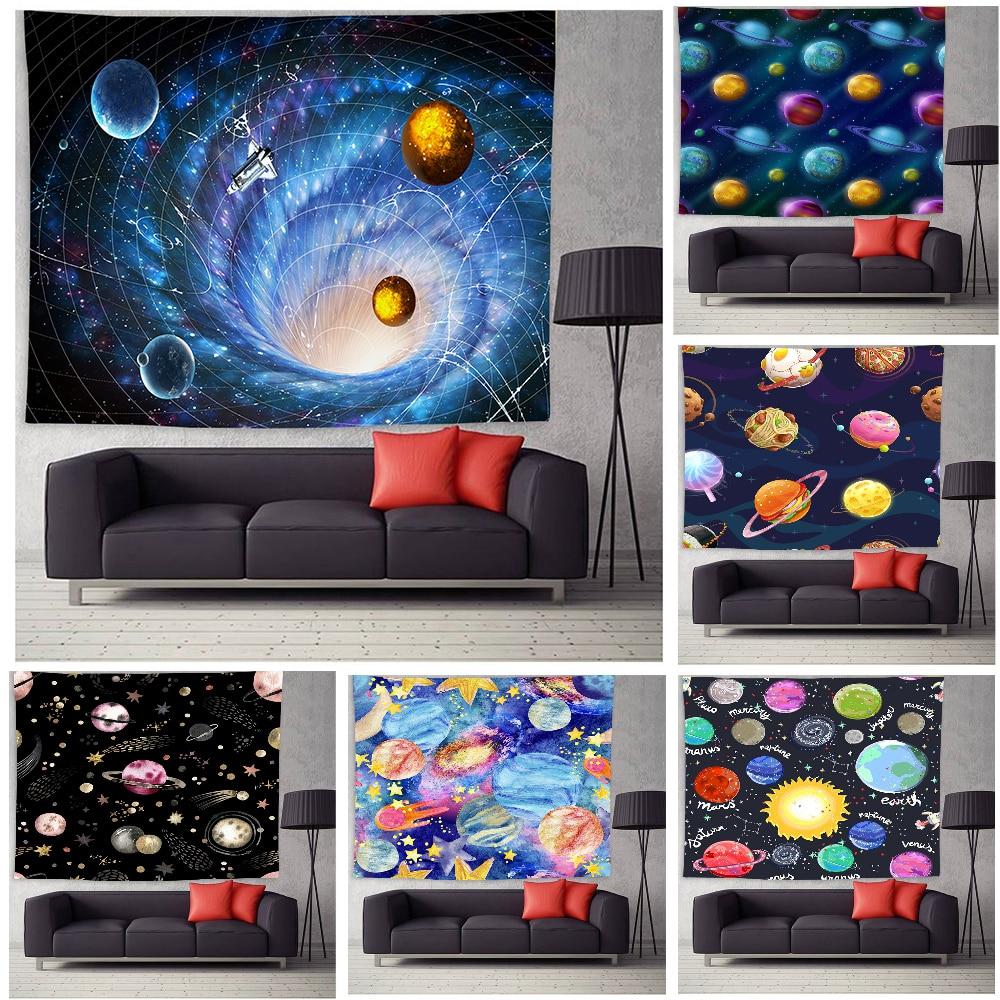Гобелен с планетами, настенное украшение для спальни, гостиной, спальни, с принтом вселенной, большие гобелены