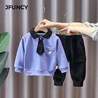 jfuncy childrens clothing academic style boy sets cartoon lapel long sleeve shirt pants costume cotton casual children clothes