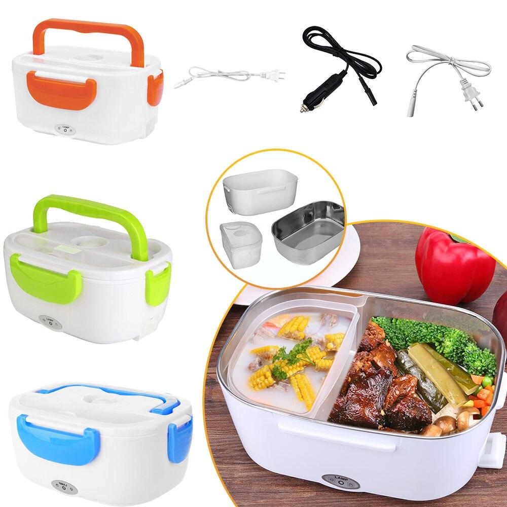2 en 1 coche y hogar caja de almuerzo eléctrica climatizada portátil 12V 110V 220V cajas Bento calentador de alimentos contenedor de arroz enchufe de EE. UU./enchufe de la UE