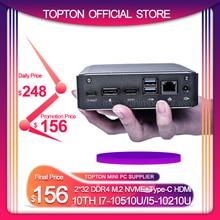 Super Mini PC 10TH i7 10510U i5 10210 i7-8565U 2 * DDR4 NVME M.2 SSD Tasca Nuc Computer Desktop Window10 pro Tipo-c 4K HDMI2.0 DP