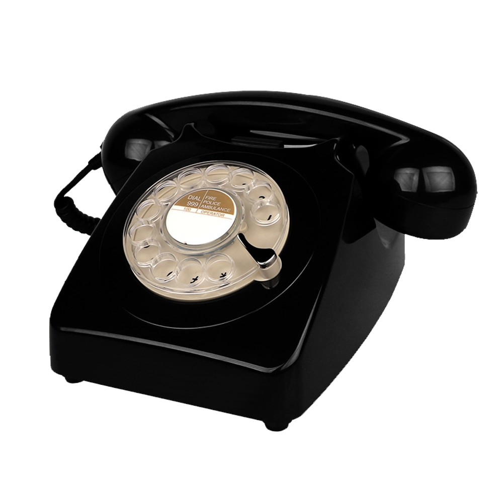 Corded Black Landline Telephone Classic Antique Telephone with Rotary Dial Keypad Vintage Home and Office Telephone Novelty Gift