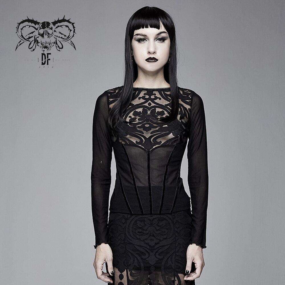 Camiseta de manga larga gótica de mujer de moda diablo Slim Fit malla diaria