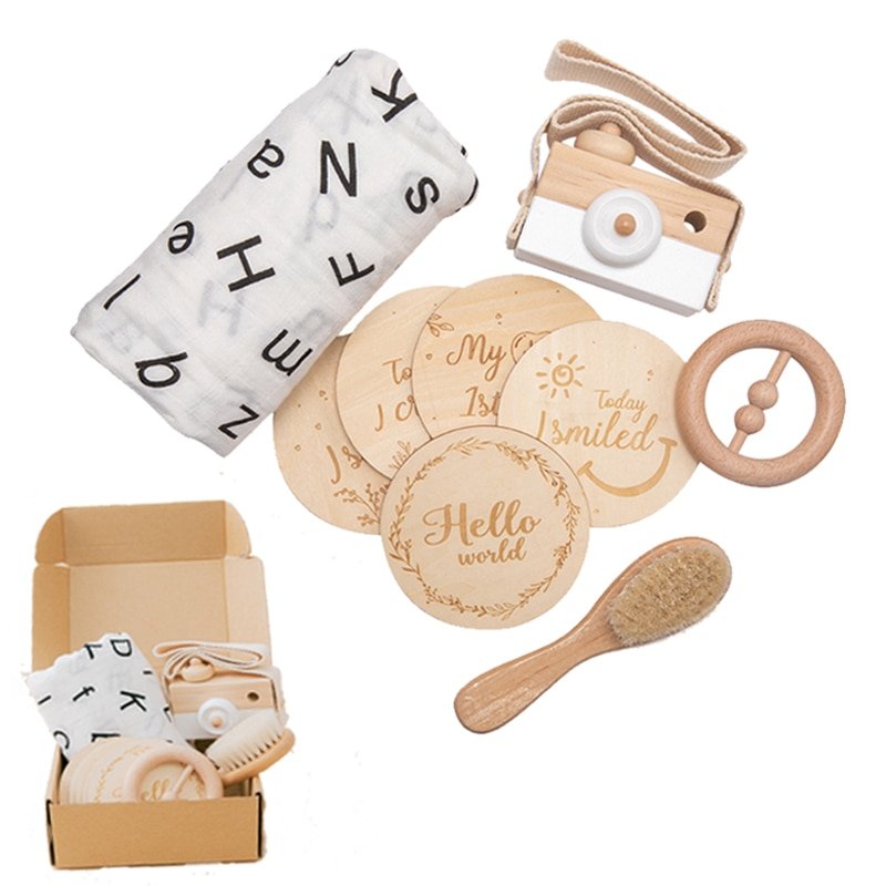 Baby Photography Accessories Infant Monthly Growth Milestone Blanket Wood Camera Newborn Growth Photo Ornaments Room Decorations