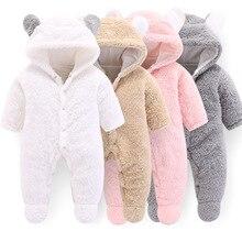 Unisex Baby Rompers Boys Girls Fleece Hooded Winter Fleece Jumpsuit Soft Cute Cartoon Coats Newborn