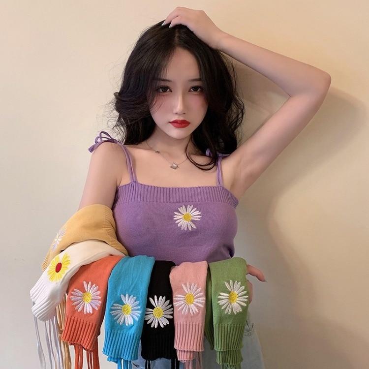 Verano recortado Sexy Harajuku Vintage Linda Margarita camiseta sin mangas naranja blanco negro rosa amarillo azul Top corto con diseño Floral chaleco