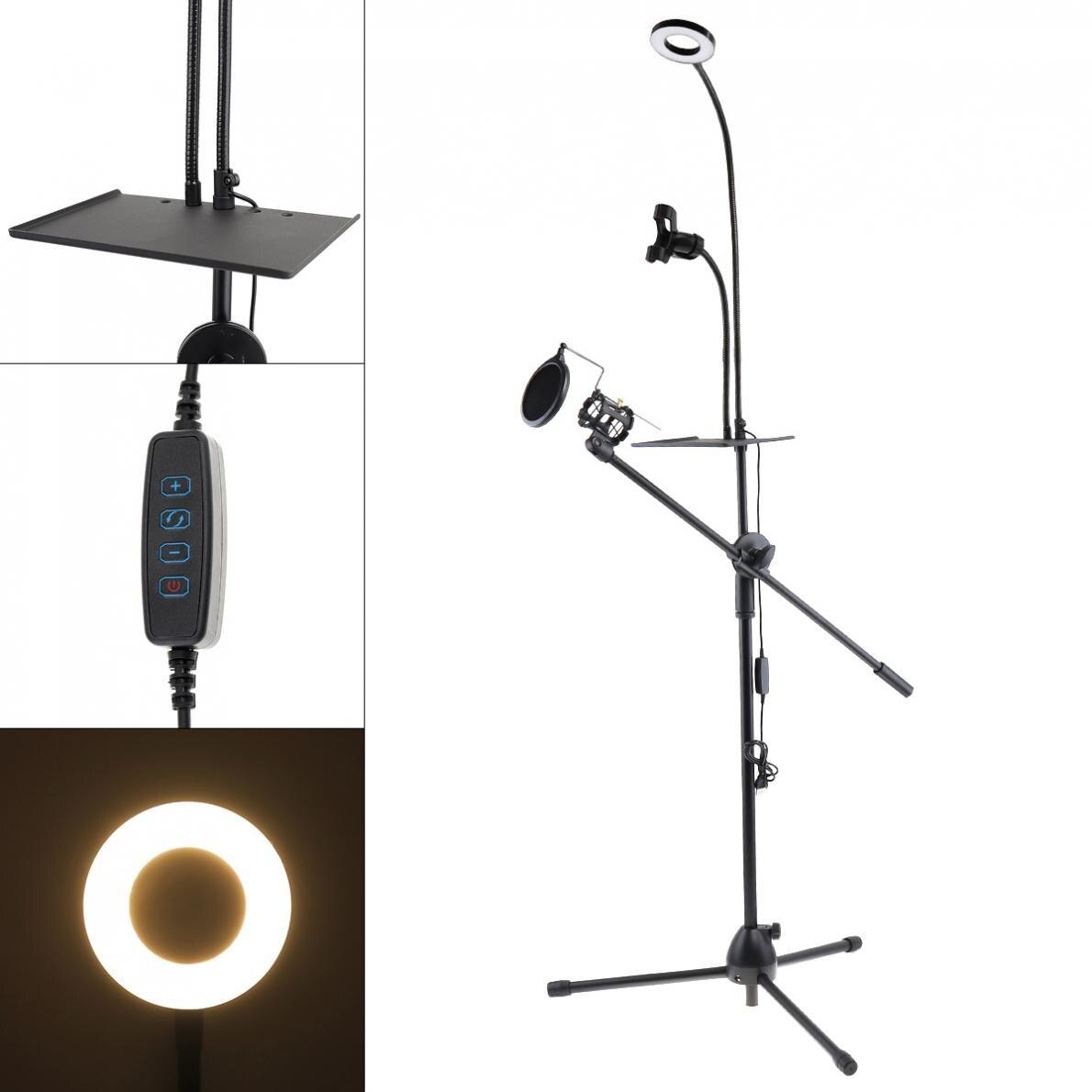 Multifunción transmisión en vivo cuello de cisne soporte de teléfono celular bandeja soporte trípode con luz de Selfie y micrófono soporte Pop filtro