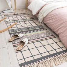 Cotton Linen Ethnic Bohemian Absorbent Rugs Carpet Entrance Bedroom Non-Slip Floor Mats Hallway Area Rug for Living Room Tapete