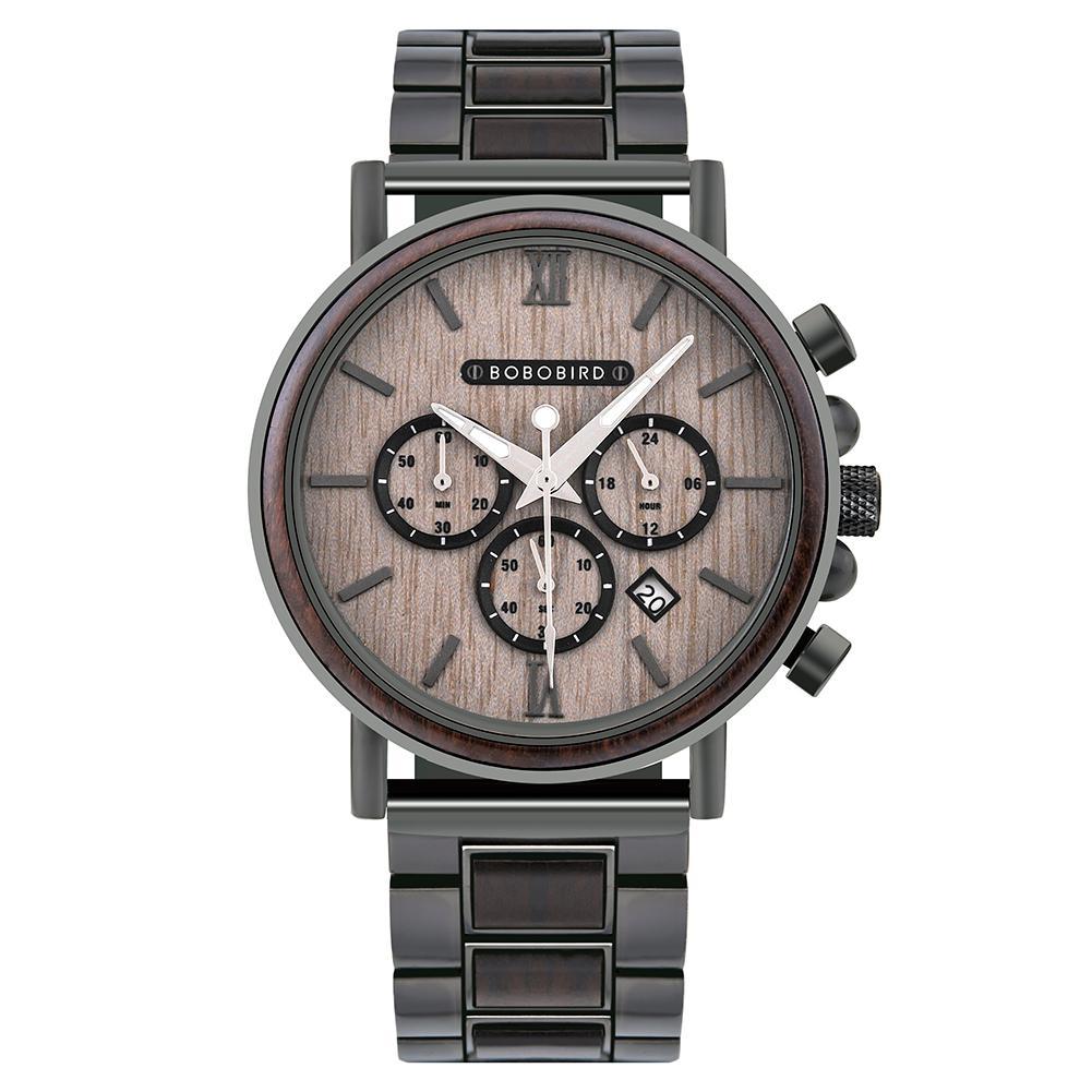 часы мужские BOBO BIRD Wooden New Men's Fashion Military Retro Watch Auto Date Chronograph Luminous Hands Timepiece Great Gift