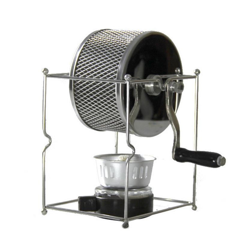 Tostador de café de acero inoxidable Manual operado a mano de Gas rotativo de Alcohol estufa de frijol para hornear máquina de Espresso