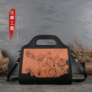 Women's handbag leather fashion women's bag temperament straddle bag women's Antique Handmade Bag