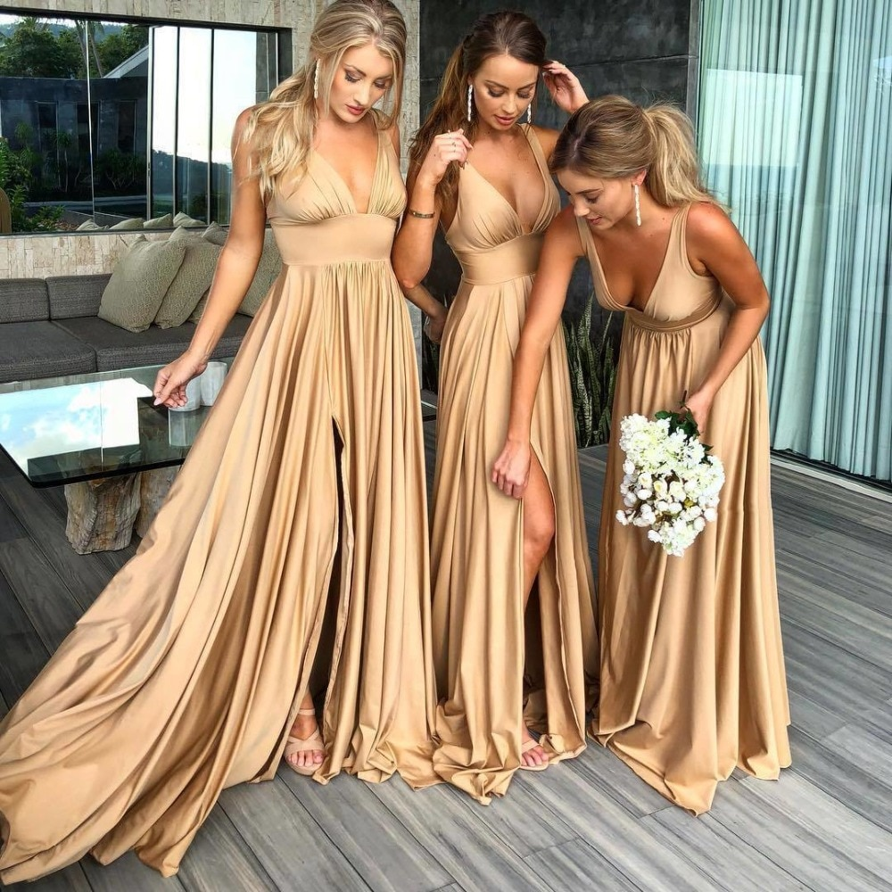 Robe demoiselle d'honneur Sexy Slit Champagne Gold Dresses Long Chiffon V Neck Formal Prom Party Gow