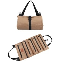 47288 5cm 5 grid tool bag canvas tool roll pouch multi purpose zipper storage pocket hanging portable toolbag