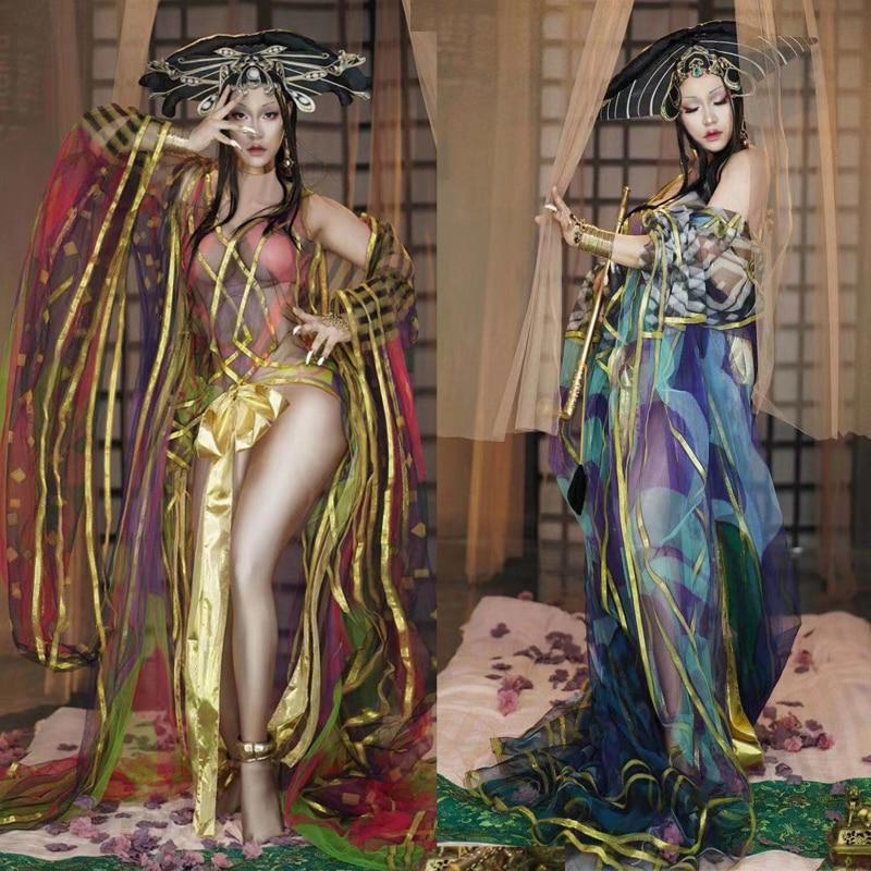 ازياء المسرح النمط الصيني للمطربين مهرجان عيد ميلاد الزي النساء الإناث Dj ملابس الأداء مثير Ds الهذيان ارتداء DT1553
