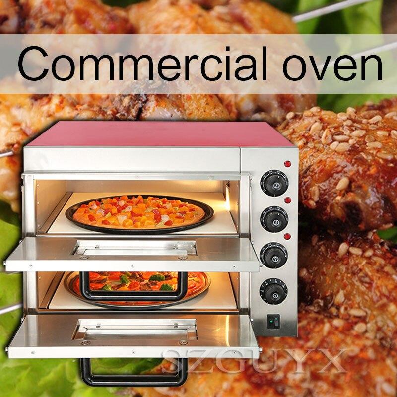 220V/3KW Commercial haute capacité Double couche électrique four à pizza ménage intelligent multifonction gâteau pain four électrique
