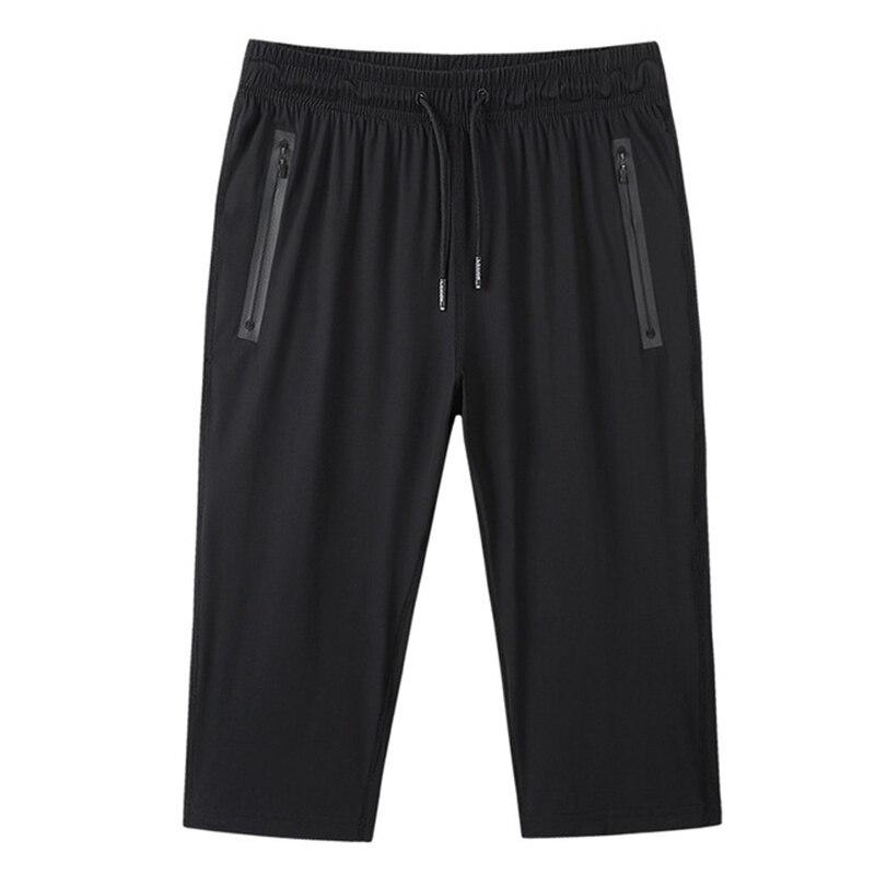 Мужские длинные бриджи с удобрением, прямые укороченные брюки с прямым ртом, вязаные шелковые укороченные шорты, сетчатые дышащие шорты, на ...