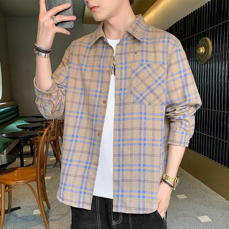 Новая клетчатая рубашка, Мужская модная рубашка с длинным рукавом и красивым пальто, свободная рифленая ткань, модная мужская одежда