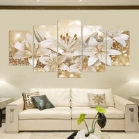 fashion beautiful flower wall art canvas painting 5 pieces poster for living room home decoration no frame modular picture