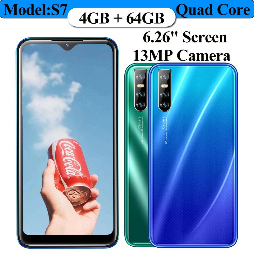 العالمي S7 64G ROM الهواتف الذكية 4G RAM شاحن هاتف محمول يعمل بنظام تشغيل أندرويد رباعية النواة 6.26