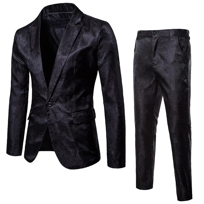 Mens Black Paisley Floral Suits With Pants 2020 Brand New Slim Fit 2pcs ( Blazer+Pants) Set Men Stage Singer Wedding Suit Jacket