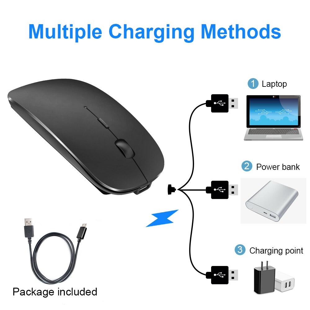 ماوس لاسلكي للكمبيوتر، فأرة USB بصرية, يعمل بالبلوتوث، مريح، قابل لإعادة الشحن، 2.5Ghz ، مناسب للكمبيوتر واللاب توب