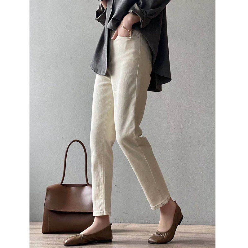 CMAZ White Jeans For Women High Waist Harem Mom Jeans Spring 2021 New Plus Size Black Women Jeans St
