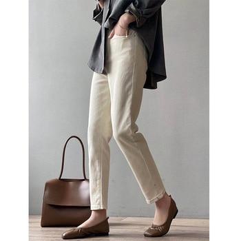 CMAZ White Jeans For Women High Waist Harem Mom Jeans Spring 2021 New Plus Size Black Women Jeans Streetwear Denim Pants 8801#
