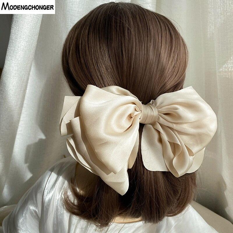 1pc inverno velvet bowknot grampos de cabelo gravata à mão grande pigtail arcos hairpin para mulheres meninas cetim temperamento elegante accessoires