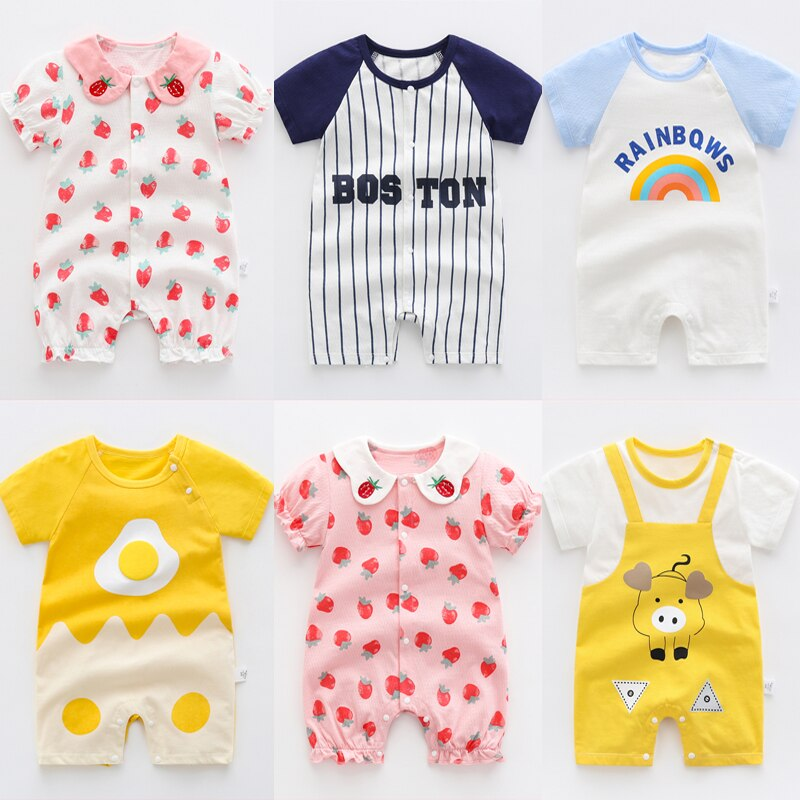 AliExpress - 2021 Summer Baby Rompers Short Sleeve Catoon Cotton Baby Girls Clothes 0-3 Years Toddler Boys Romper Newborn Clothes Jumpsuits