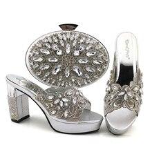 Doershow belle argent Chaussures Italiennes Avec Des Sacs Assortis Femmes Africaines Chaussures et Sacs Ensemble Pour La Fête De Bal Dété Sandale! HKV1-15