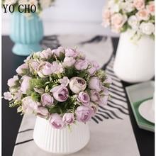 YO CHO Rose Flower Bunch Wedding Mini Bouquet Artificial Flower 10 Heads Silk Rose Bridesmaid Bouquet Wedding Planner Supplies