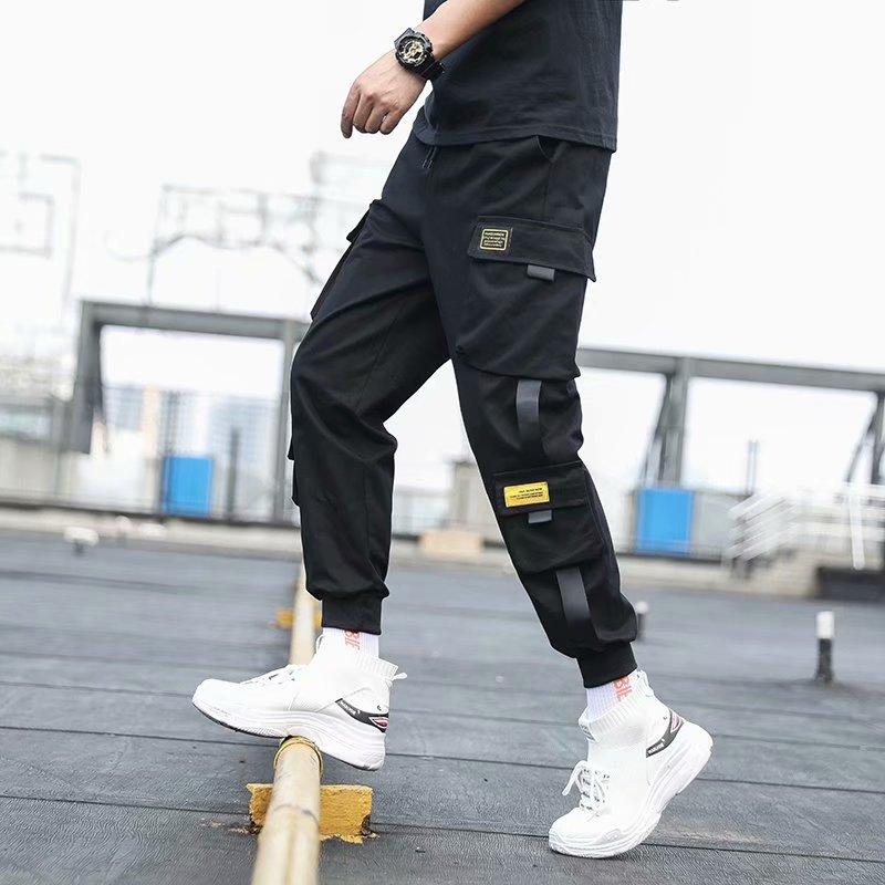 2021 Men's Side Pockets Cargo Harem Pants Ribbons Black Hip Hop Casual Male Joggers Trousers Fashion Casual Streetwear Pants