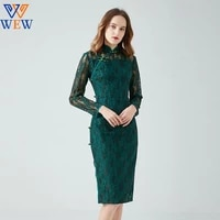 2021 improved cheongsam spring and autumn dress new retro chinese style big size fashion dress mothers lace party lace vestidos