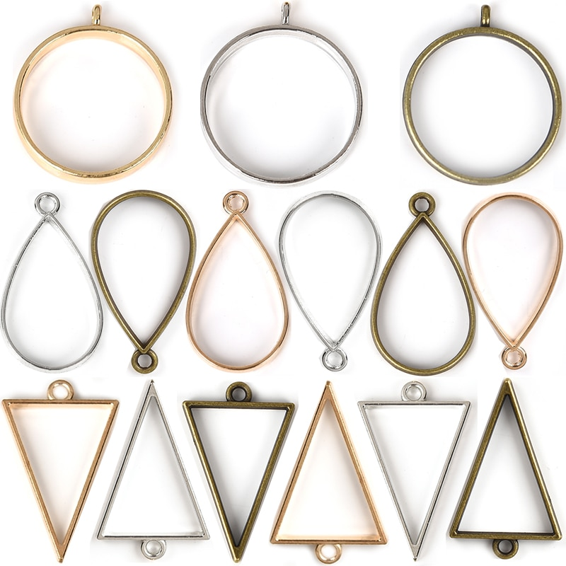10 Uds engaste abierto marco vacío gota triángulo redondo hueco colgantes ajuste encanto oro plata Color bronce Diy resina fabricación de joyería
