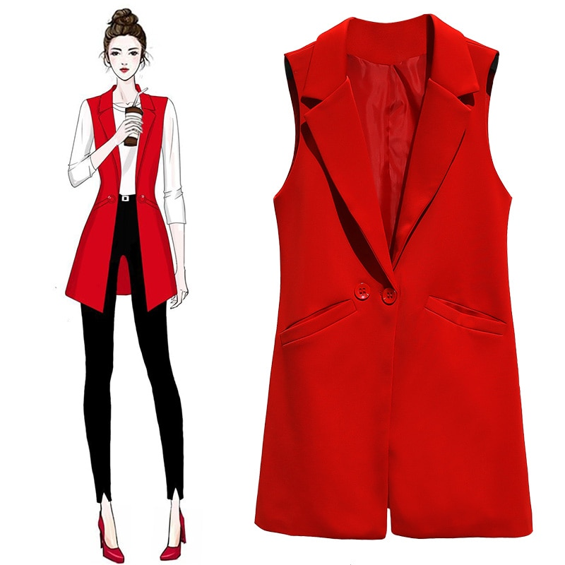 Women Long Blazer Vest  Plus Size Sleeveless Jacket