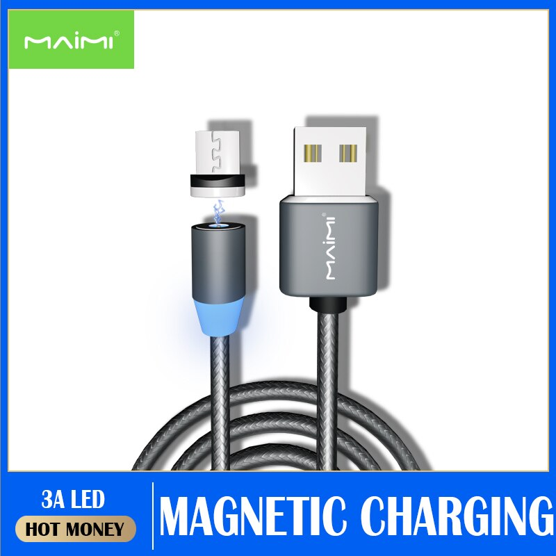 Meimi-Cable USB LED magnético de carga rápida tipo C, cargador magnético, Cable...