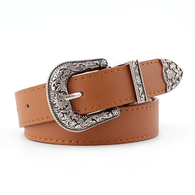 Vintage Adjustable Western Belt Women Black  Pin Buckle Belt Retro High Quality Metal Buckle Waistband For Ladies Jeans Dresses