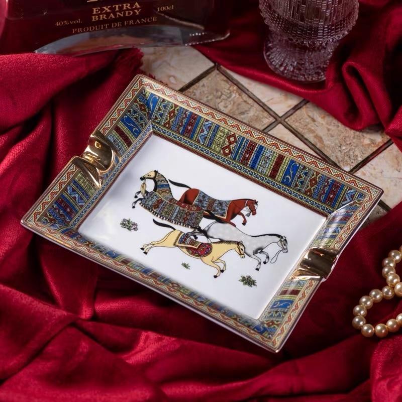 Handmade Art Grid Pattern Ceramic Cigar Ashtray Nice Luxury Smoke Ash Tray Holder Cigars Home Table Desk Accessories Decor Gifts