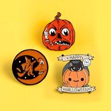 Gótico feliz Halloween! broche calabaza Luna brujas fantasma esmalte duro pin monstruo Oogie Boogie broche insignia halloween joyería