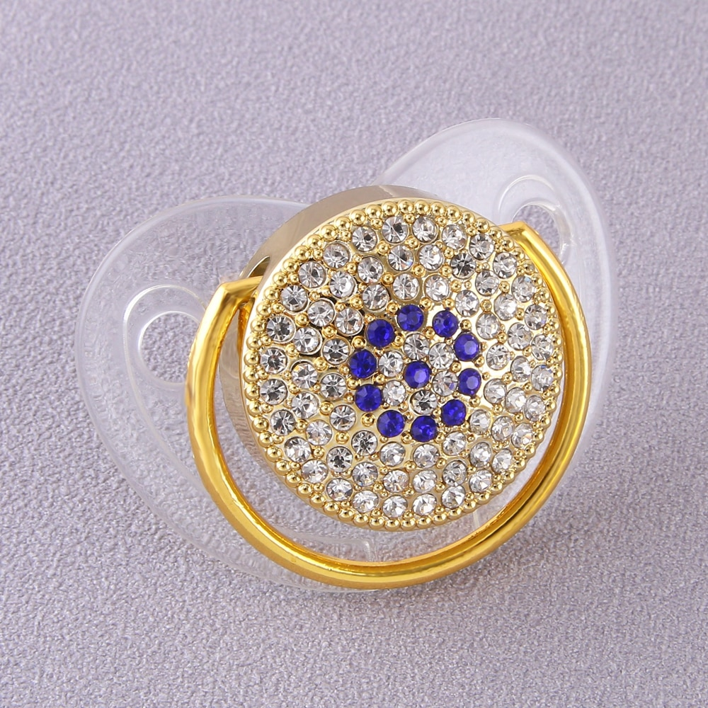 Luxury Baby Bling Pacifier Rhinestone White Crystal Orthodontic Nipple Silicone Soother Dummy