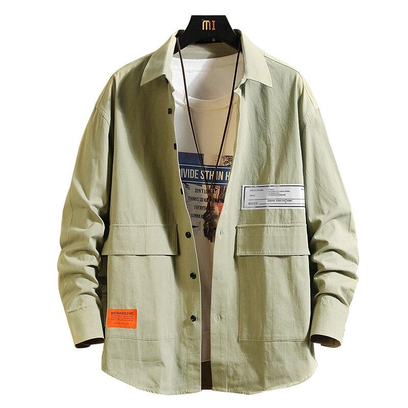 Мужская Повседневная рубашка из ткани Оксфорд, желтая хлопковая рубашка с длинными рукавами и накладным карманом, приталенный силуэт, весн...