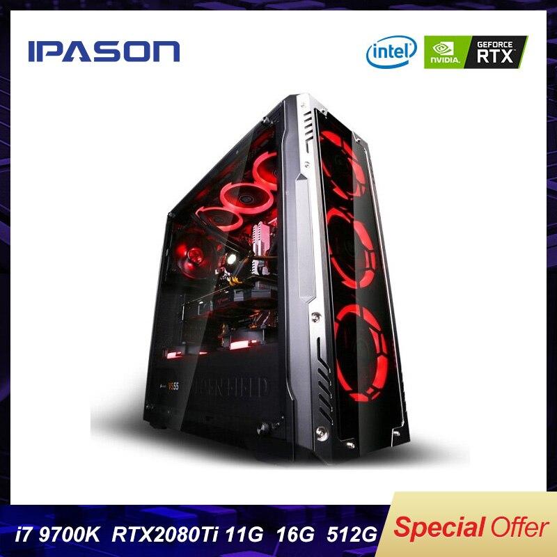 9th 8-Core Intel i7 Gen 9700k IPASON P9 PLUS Gaming PC/512G SSD/DDR4 8G/16G RAM/Cartão Dedicado 2080ti 11G Computador Desktop