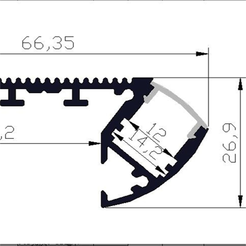 Free Shipping Hot Selling LED Stair Profile with Milky Cover, End Caps and Clips 1m/pcs  10m/lot enlarge